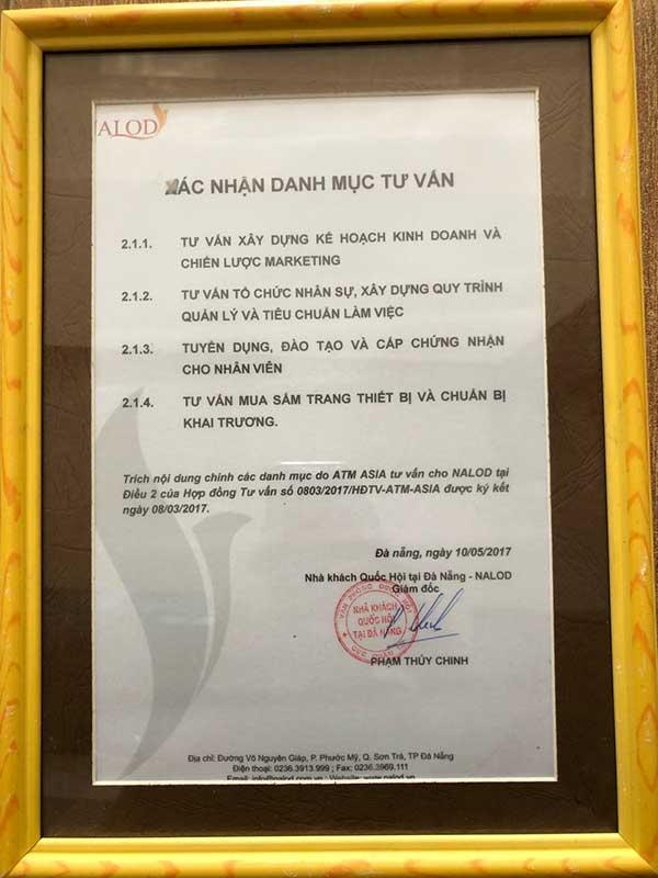 Chứng nhận của khách sạn nalod Đà Nẵng