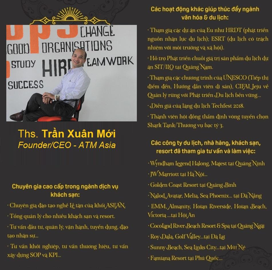 Ths Tran Xuan MOI - Founder.CEO ATM Asia Dao tao dinh huong nghe Du lich